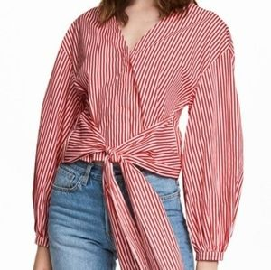 H&M NWT Candy Striper Red Vneck Button Down 8